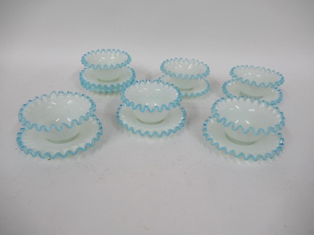 Ruffle Rim Milk Glass Dessert Cups & Underplates