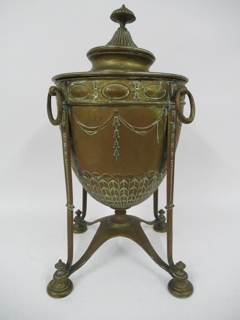 Neoclassical Brass Fireplace Urn with Lid