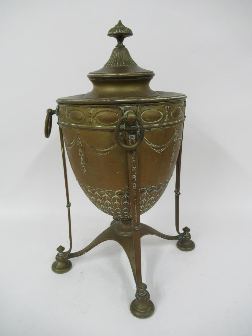 Neoclassical Brass Fireplace Urn with Lid - 2
