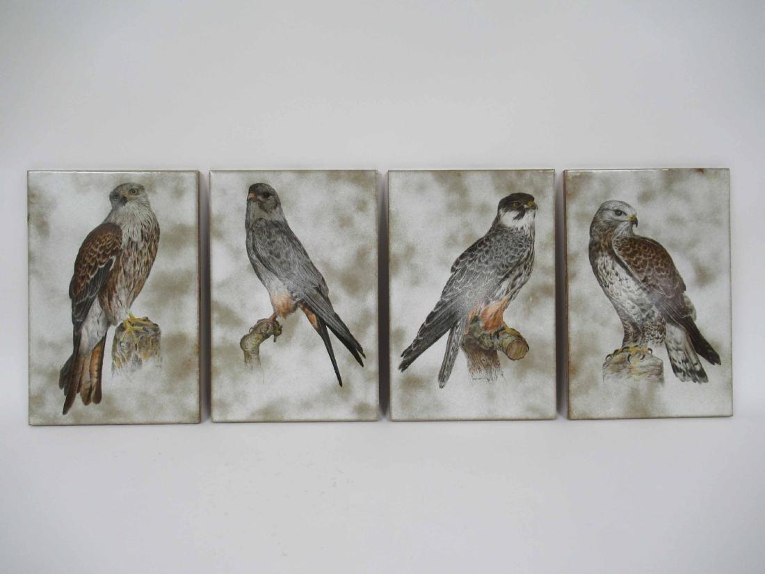 Four Glazed Raptor Bird Tiles