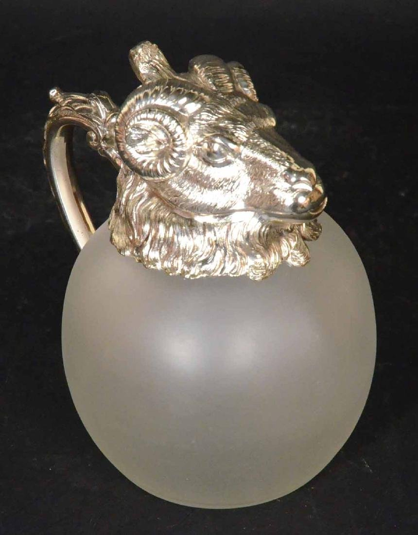 Carole Stupell Frosted Glass Ram Head Pitcher - 7