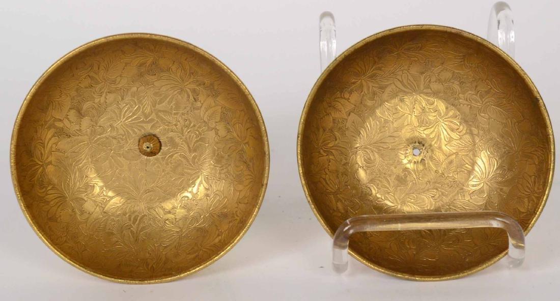 Pair Gorham Vermeil Sterling Silver&Jade Compotes - 2