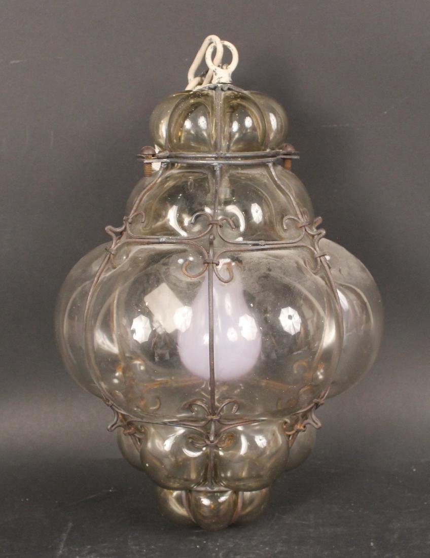 Glass Bulbous Form Ceiling Fixture