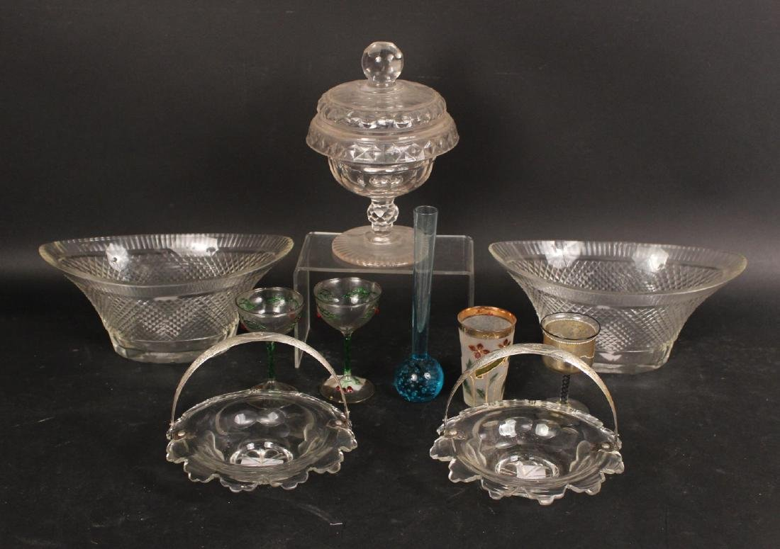 Pair of Sterling Silver Handled Glass Dishes