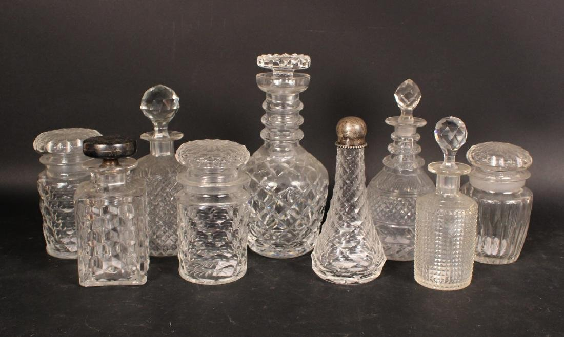 Nine Colorless Glass Decanters