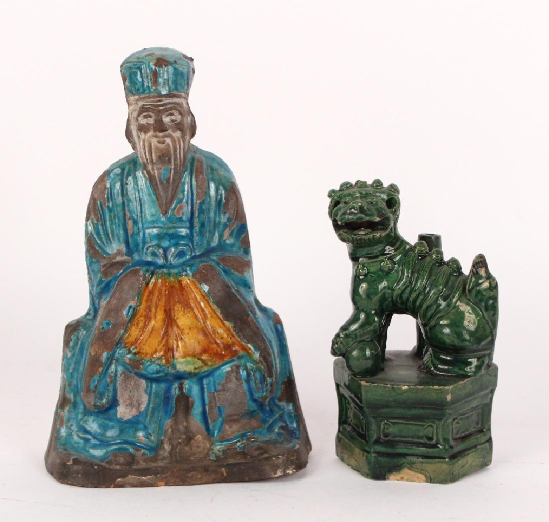Chinese Terracotta Fu Dog and Seated Man Figures