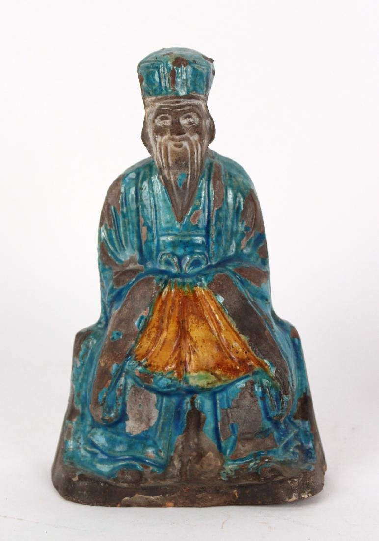 Chinese Terracotta Fu Dog and Seated Man Figures - 2