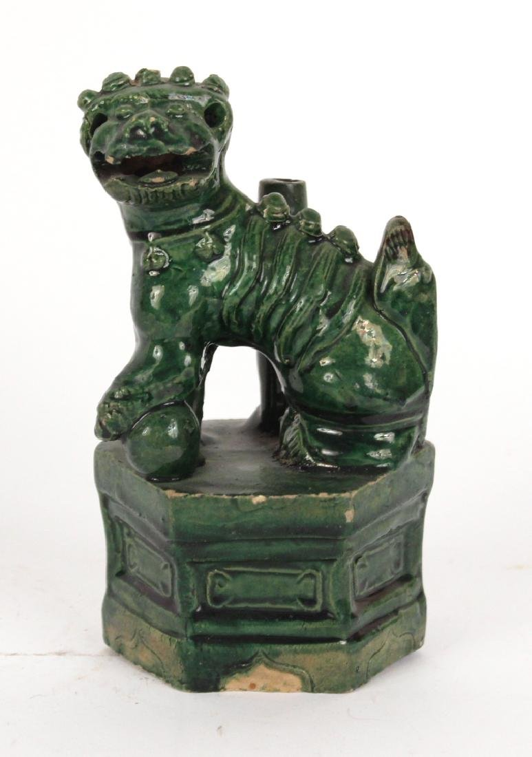 Chinese Terracotta Fu Dog and Seated Man Figures - 4