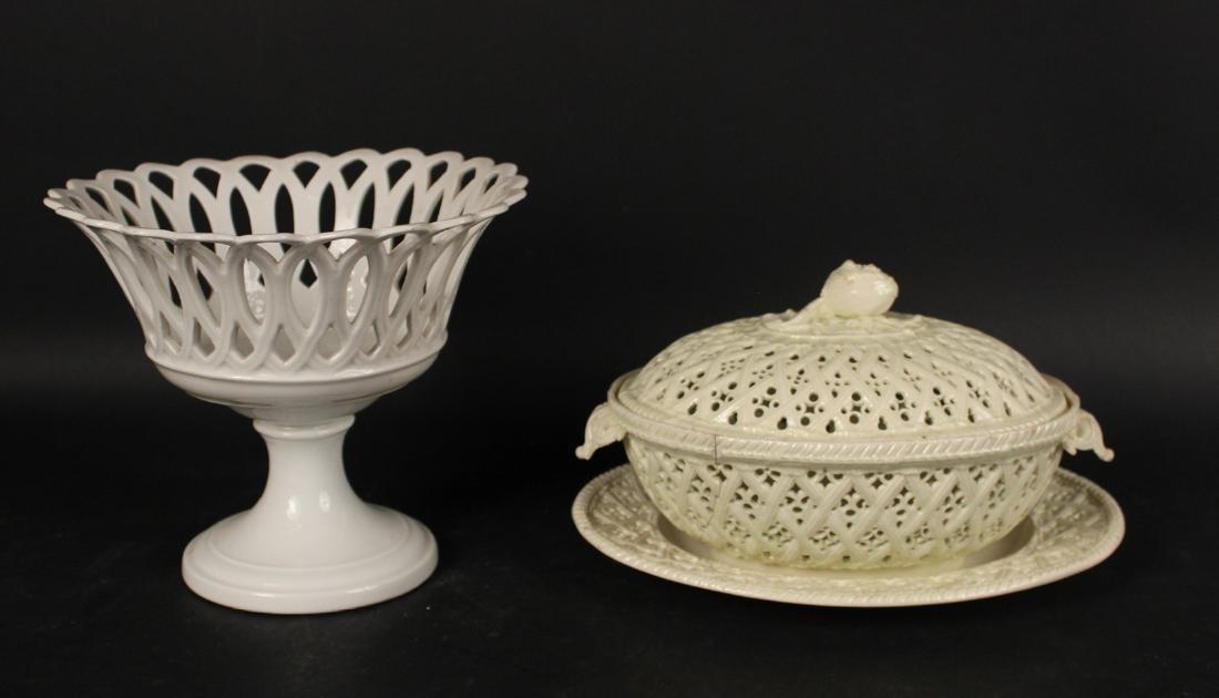 Creamware Chestnut Basket and Underplate