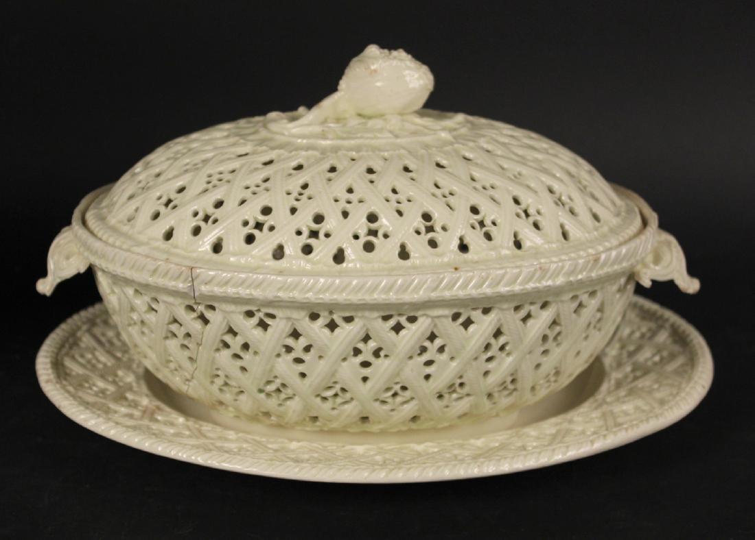 Creamware Chestnut Basket and Underplate - 2