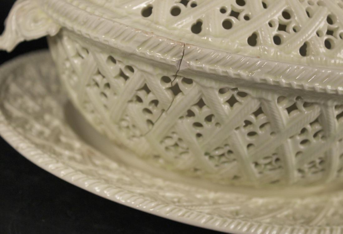 Creamware Chestnut Basket and Underplate - 3