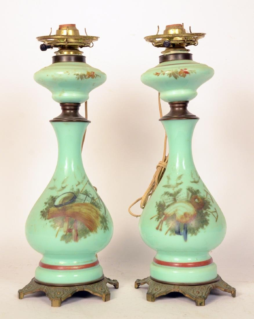 Pair of Green Glass Fluid Lamps