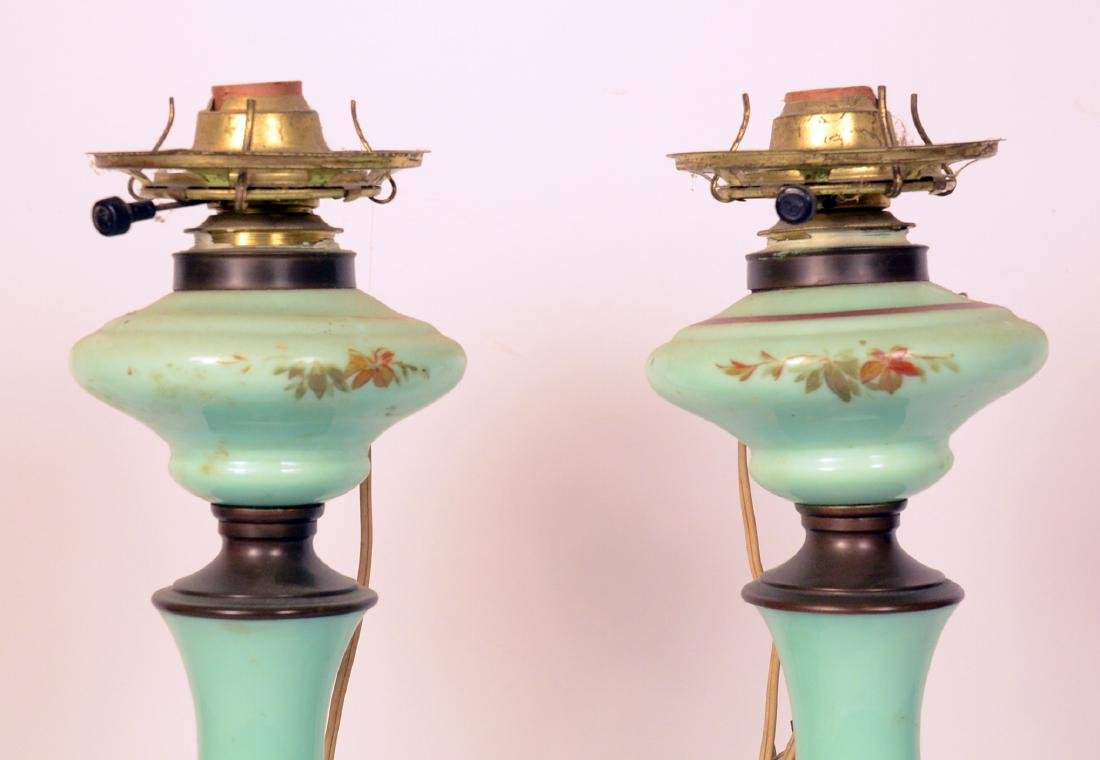 Pair of Green Glass Fluid Lamps - 3