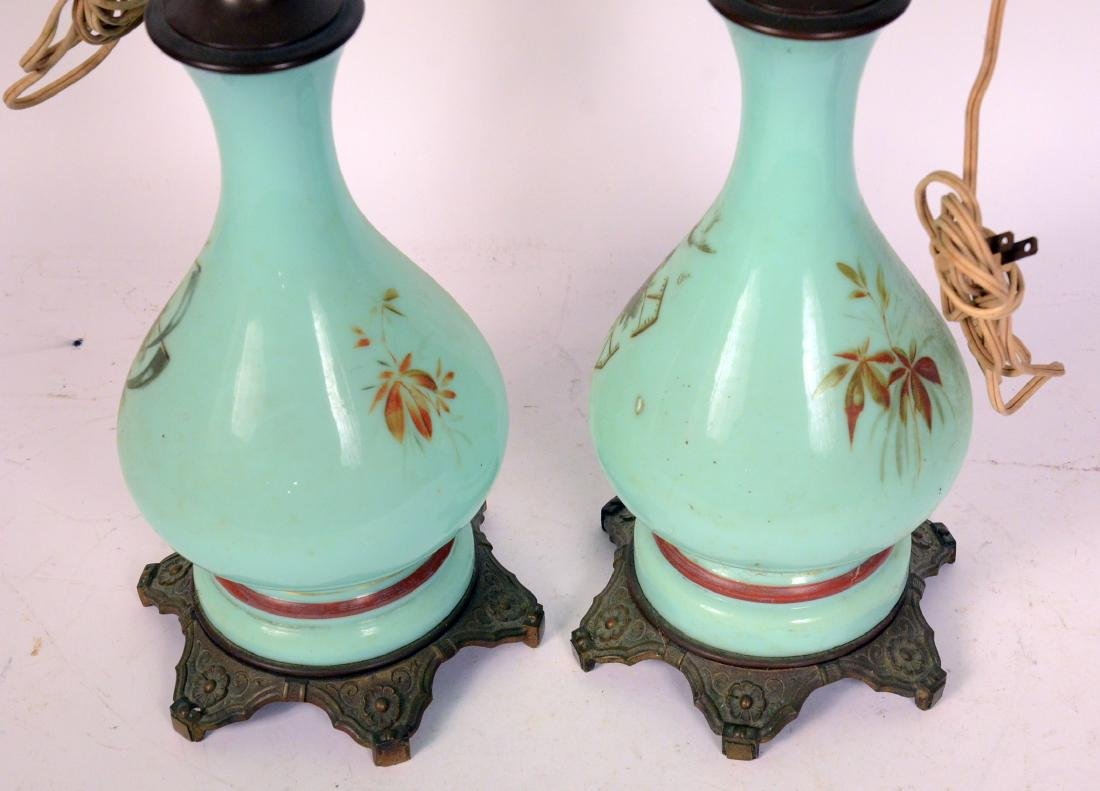 Pair of Green Glass Fluid Lamps - 4