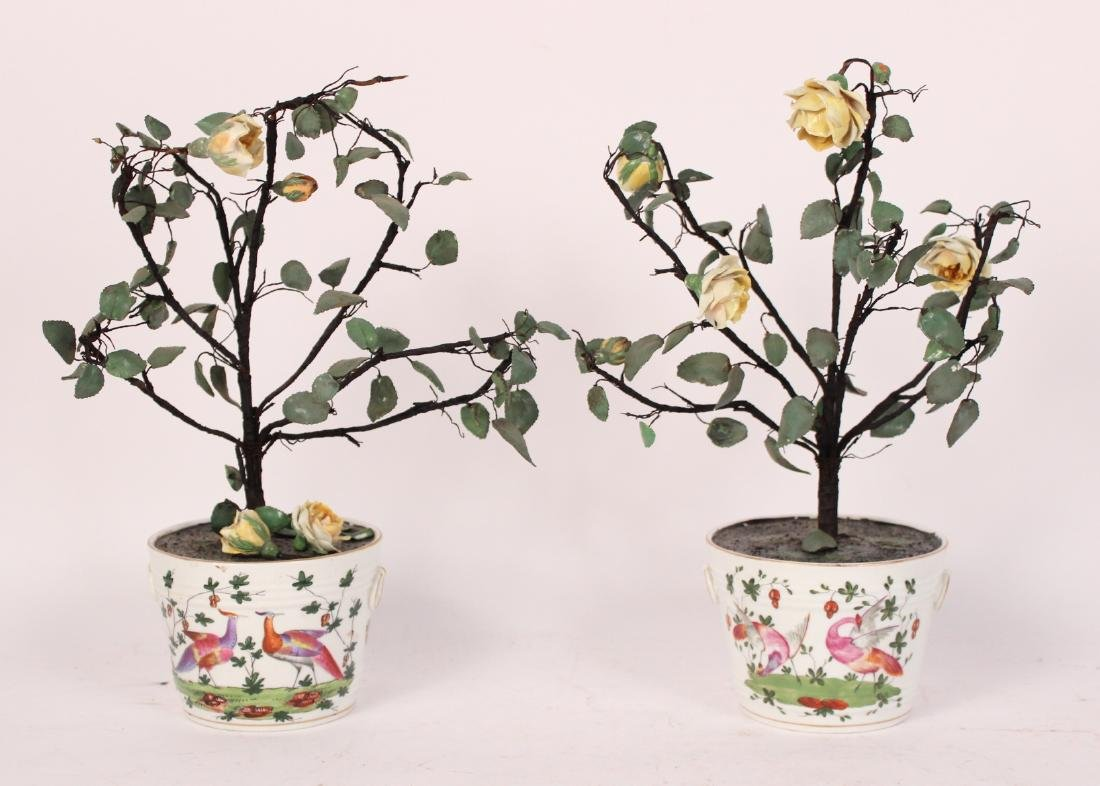 Pair of Porcelain Flower Pots and Flowers