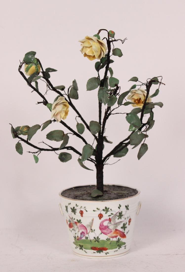 Pair of Porcelain Flower Pots and Flowers - 2