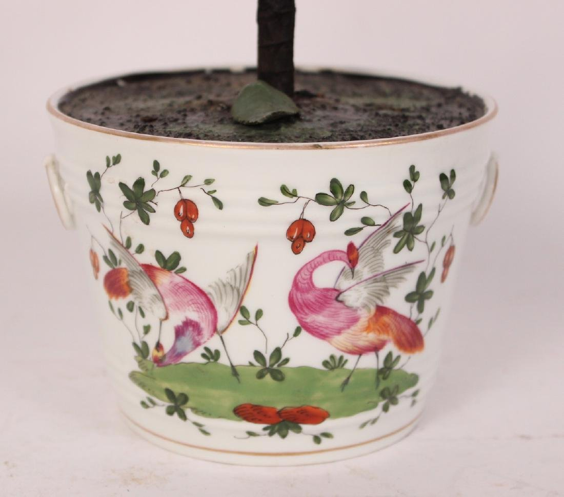 Pair of Porcelain Flower Pots and Flowers - 3