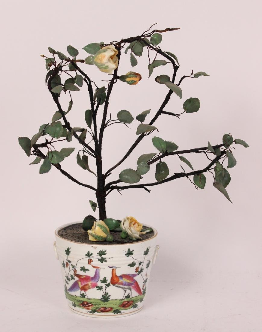 Pair of Porcelain Flower Pots and Flowers - 5