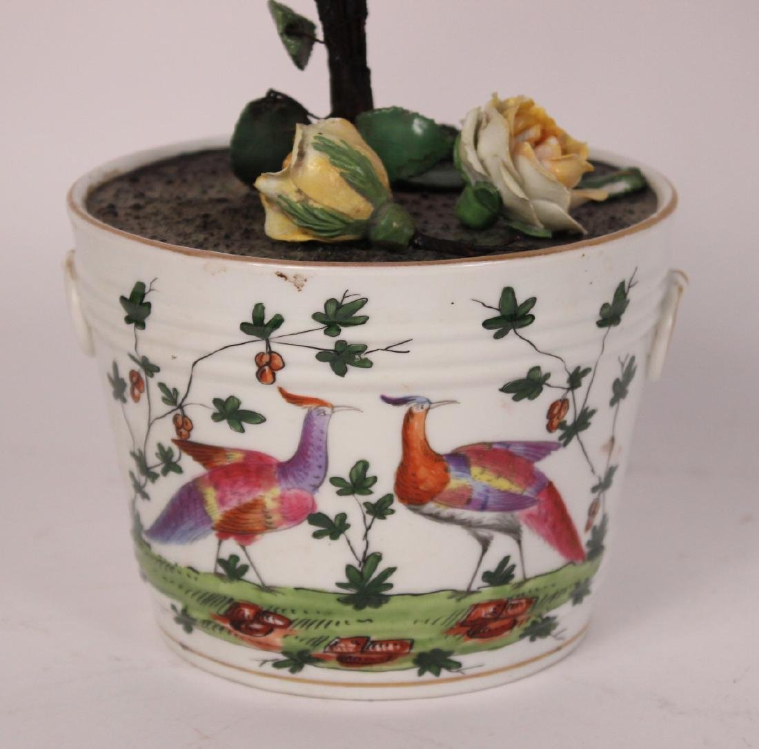 Pair of Porcelain Flower Pots and Flowers - 6