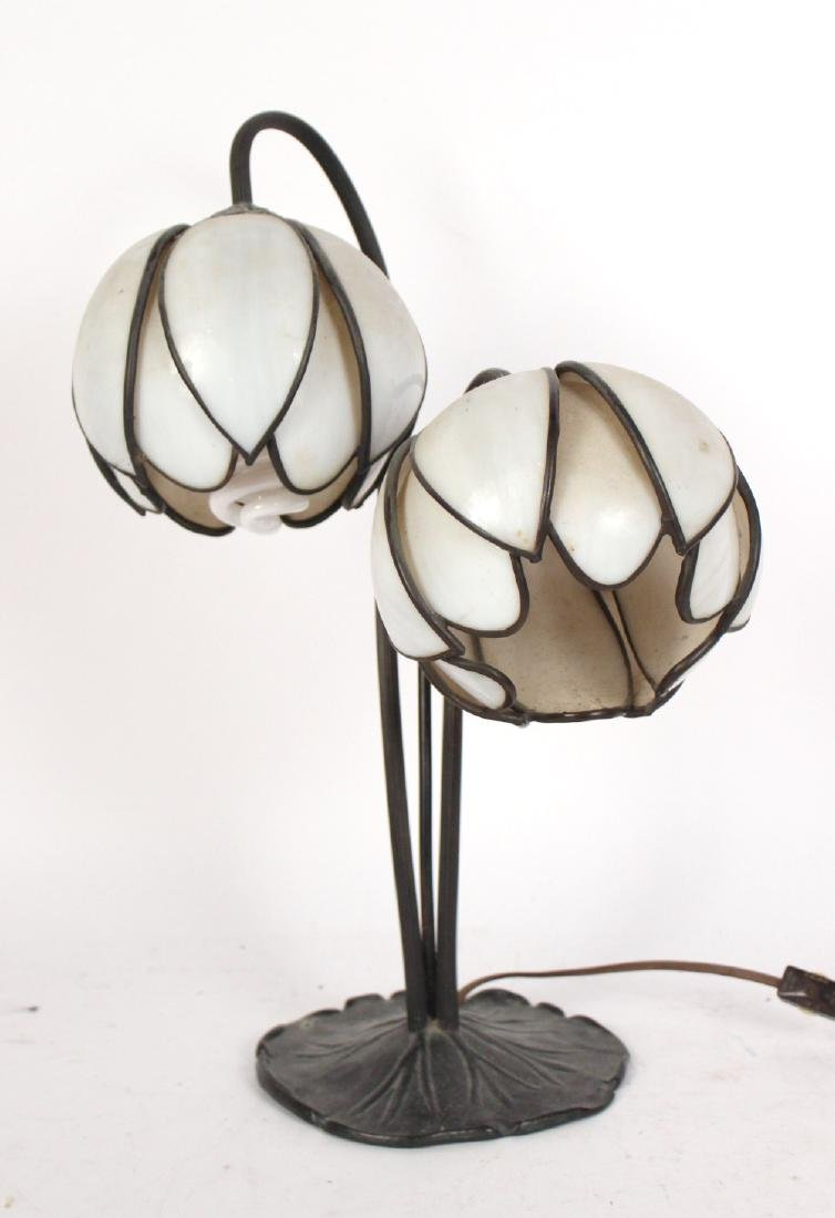 Patinated Metal Floral Form Two Light Table Lamp