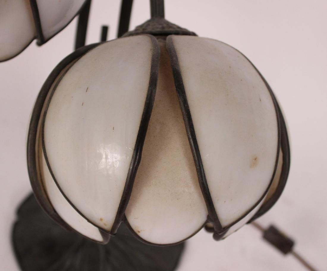 Patinated Metal Floral Form Two Light Table Lamp - 2