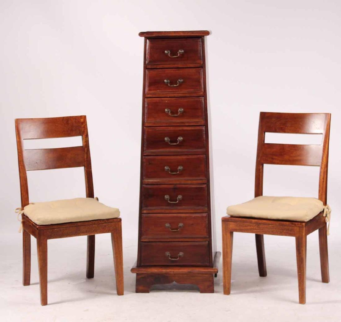 Pair Arts &Crafts Style Mahogany Slat Back Chairs