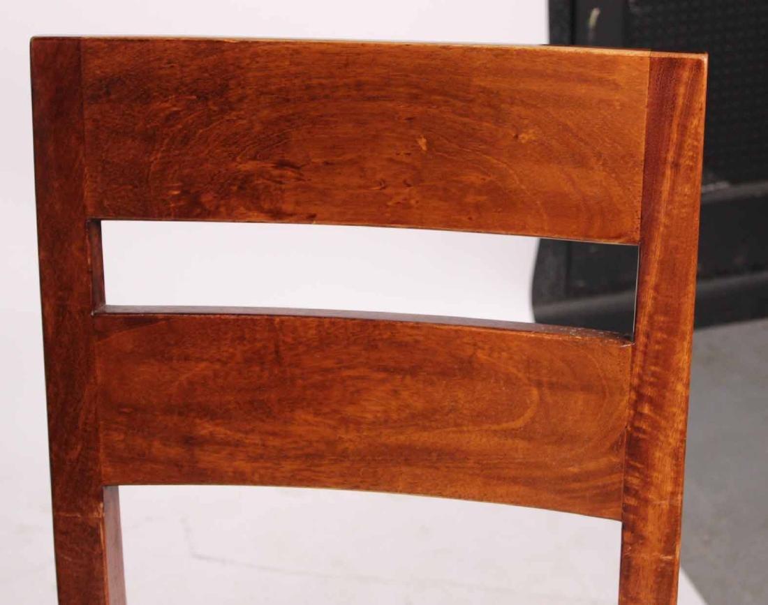 Pair Arts &Crafts Style Mahogany Slat Back Chairs - 3