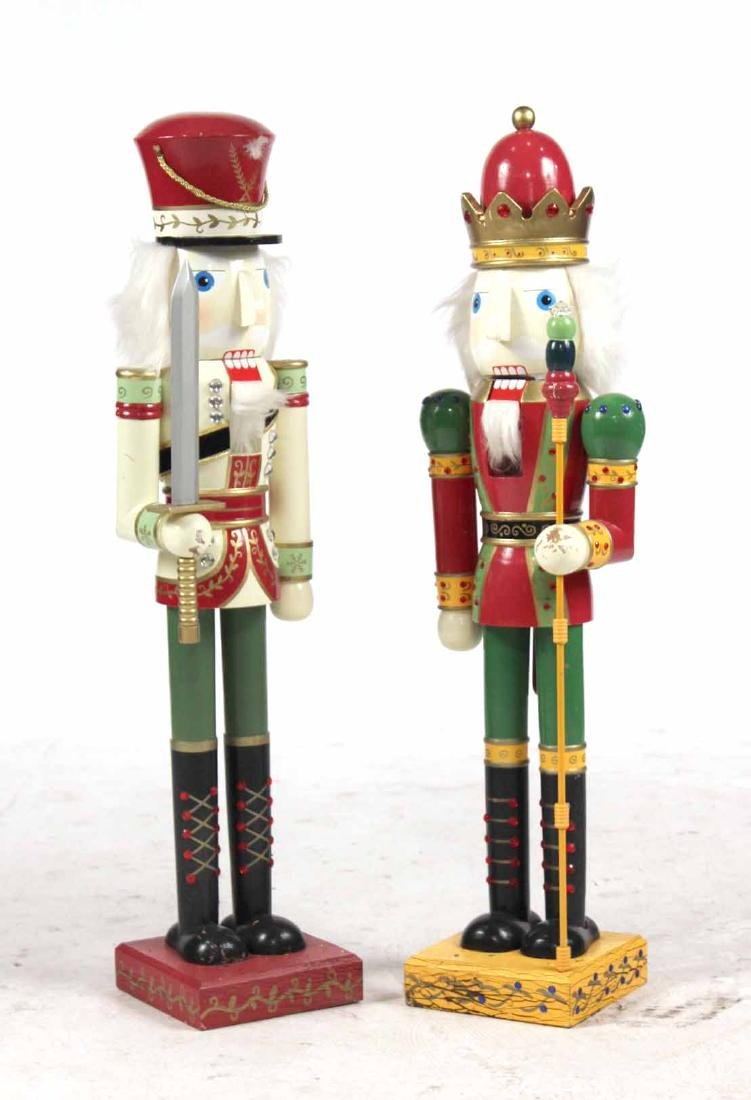 Pair Paint Decorated Nutcracker Soldiers