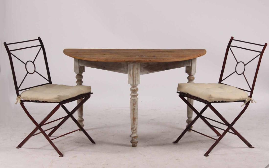 White Painted Pine & Cedar Demi-Lune Pier Table