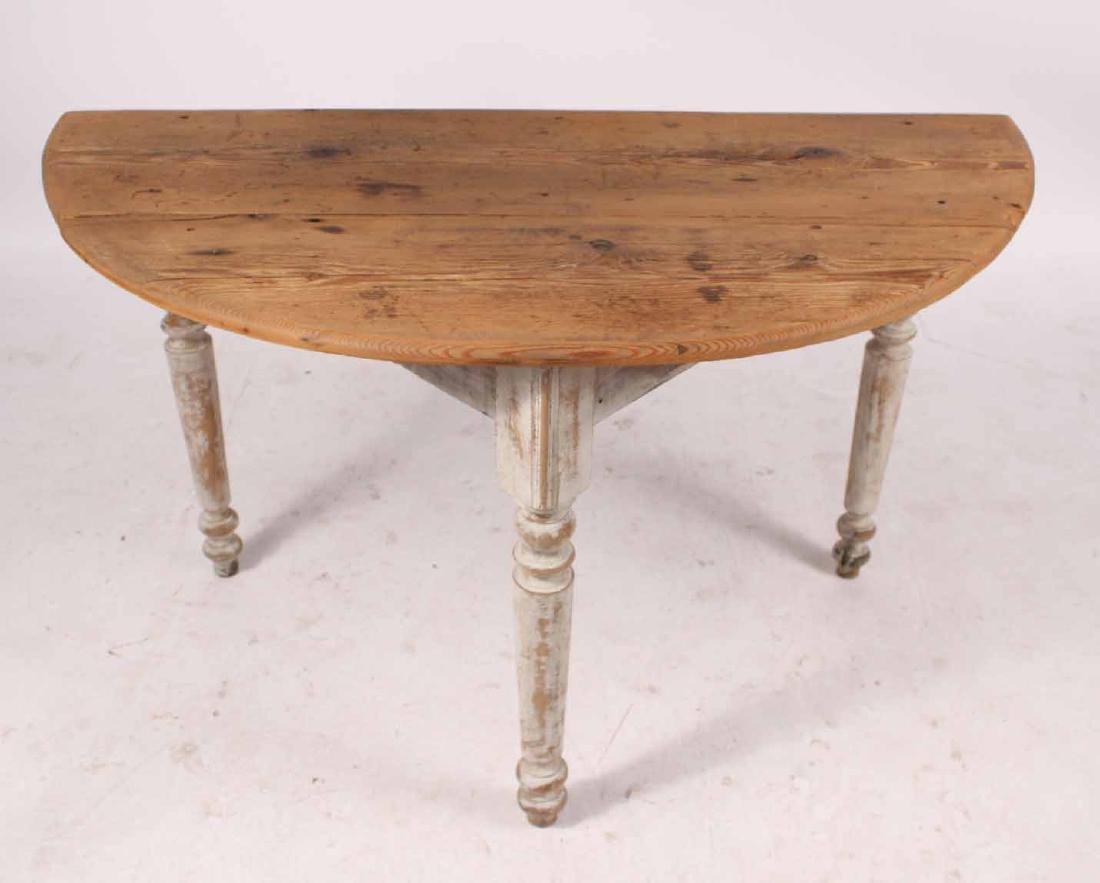 White Painted Pine & Cedar Demi-Lune Pier Table - 4