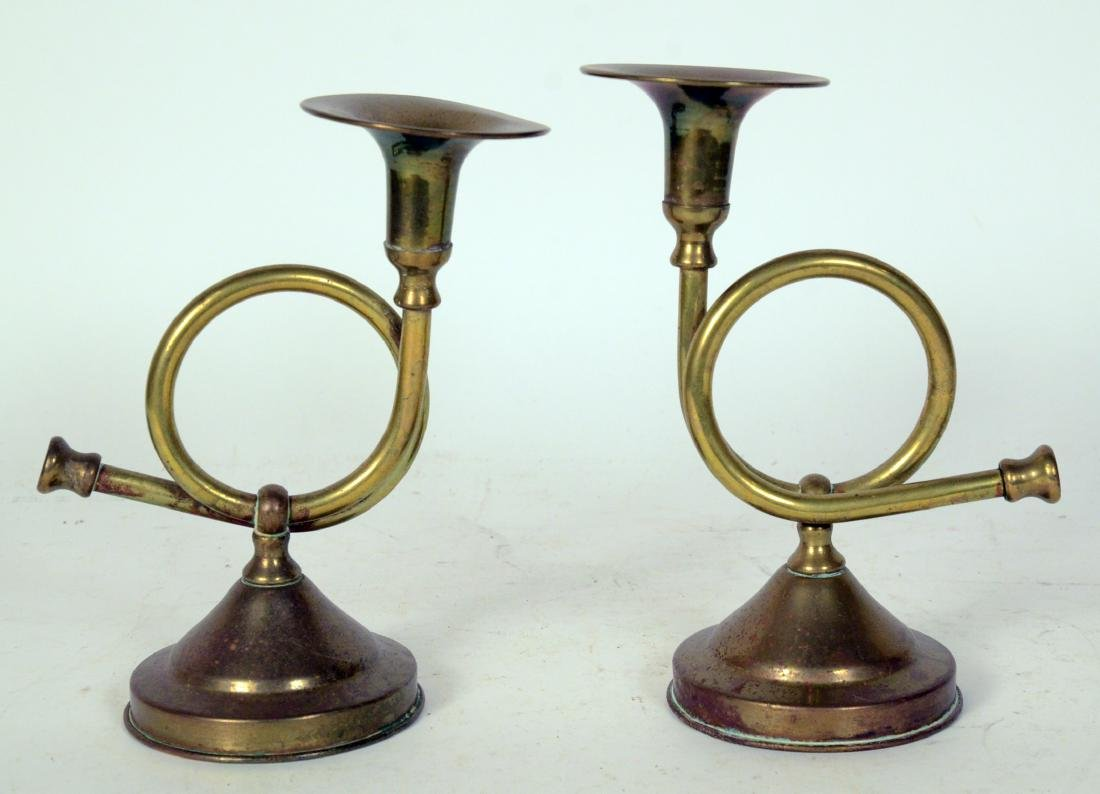 Pair of Brass Hunting Horses Form Candlesticks