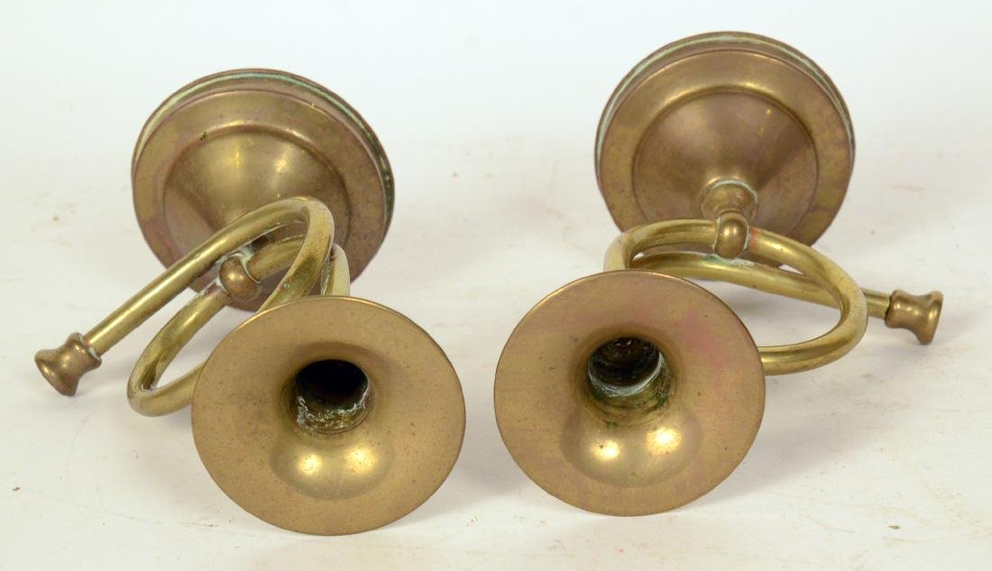 Pair of Brass Hunting Horses Form Candlesticks - 3