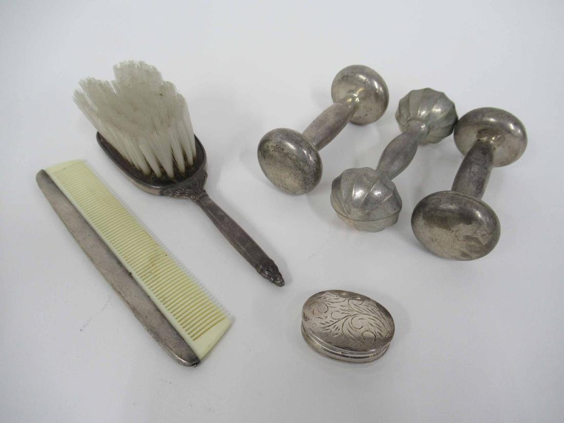 Three Sterling Silver Rattles