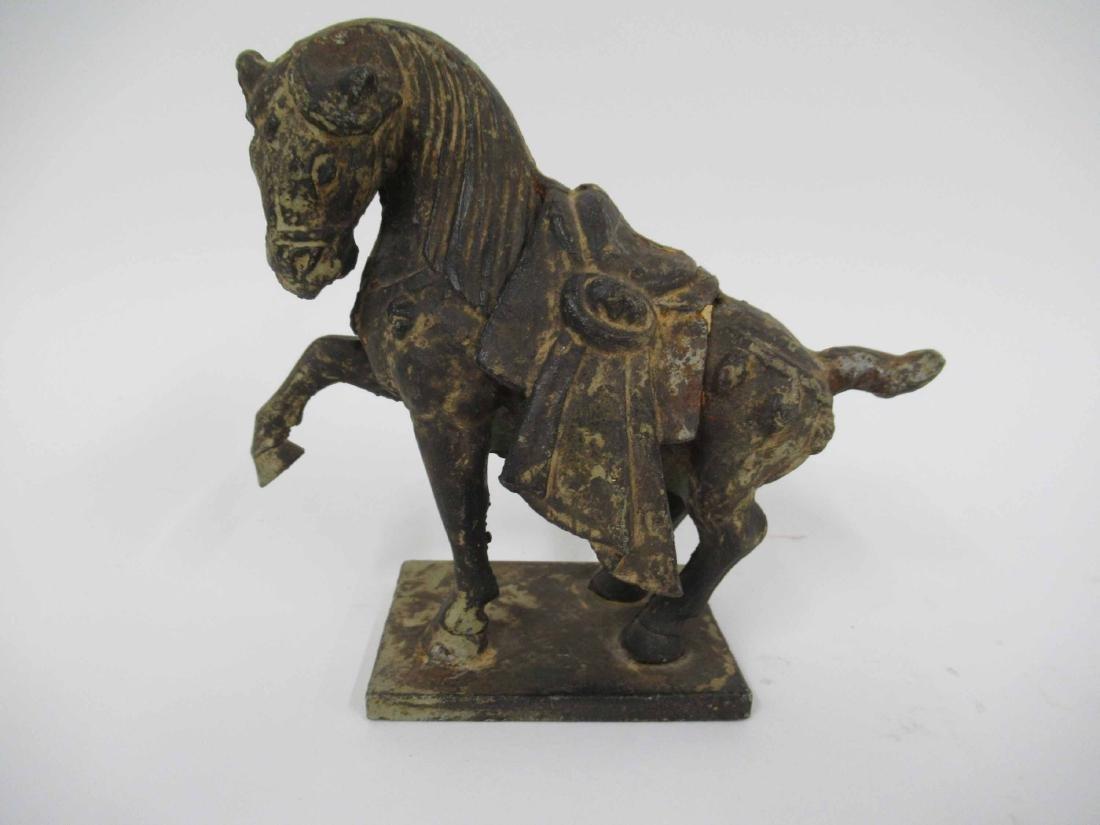 Patinated Metal Prancing Horse