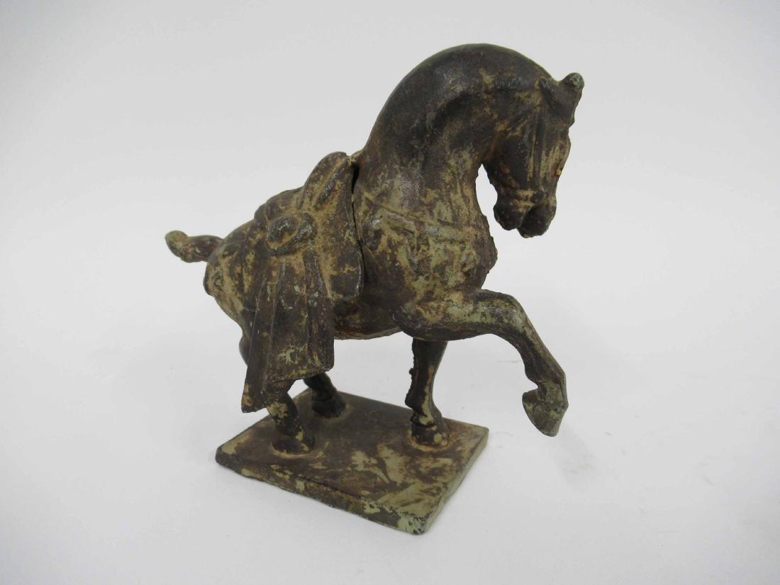 Patinated Metal Prancing Horse - 2
