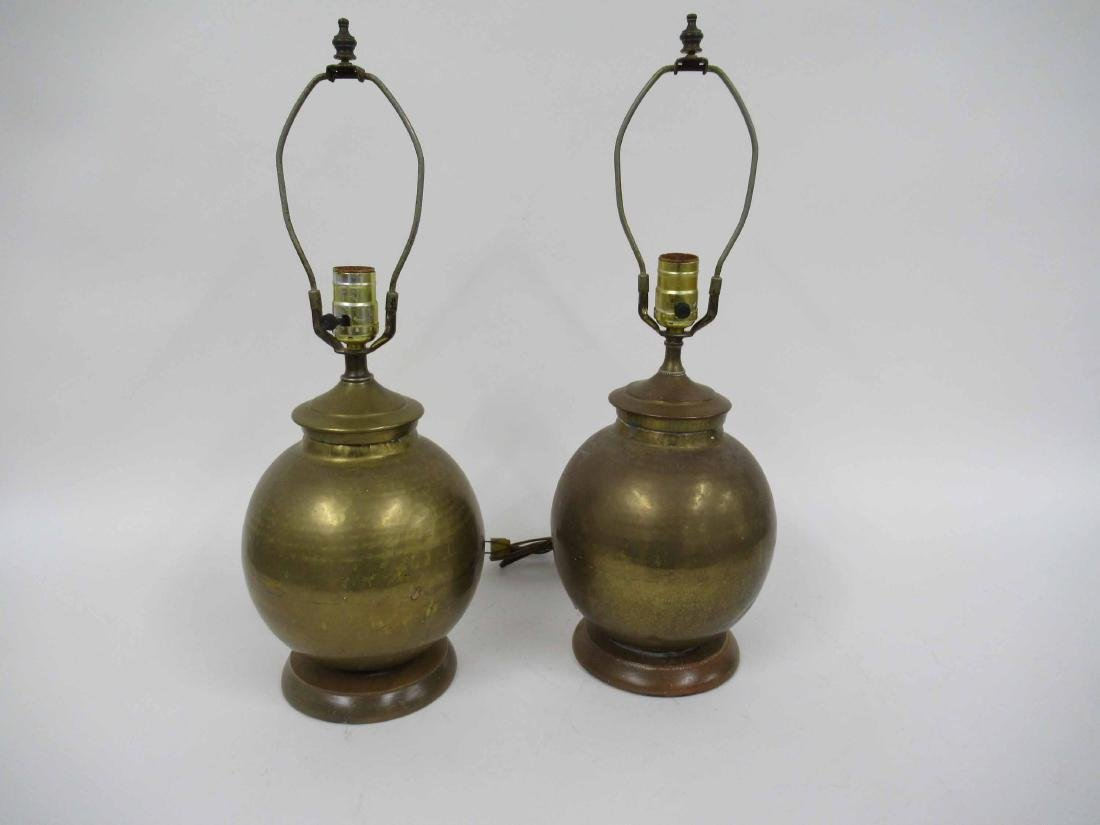 Pair of Hammered Brass Table Lamps