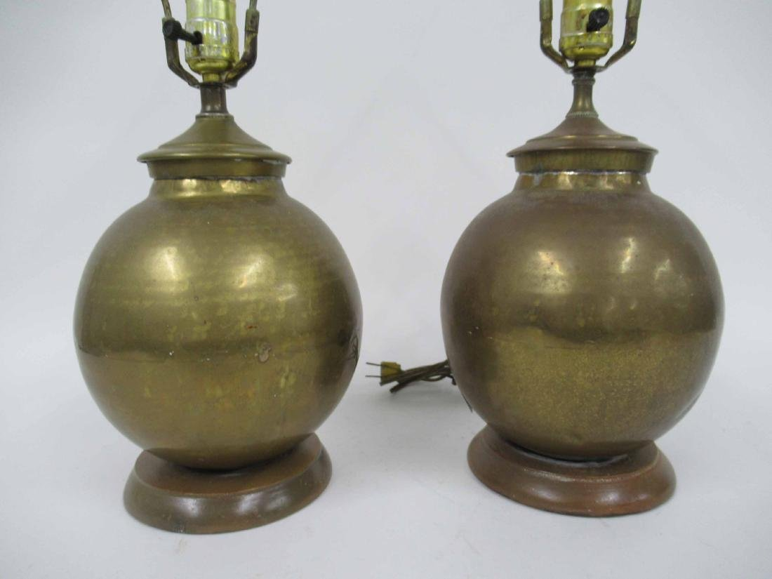 Pair of Hammered Brass Table Lamps - 2