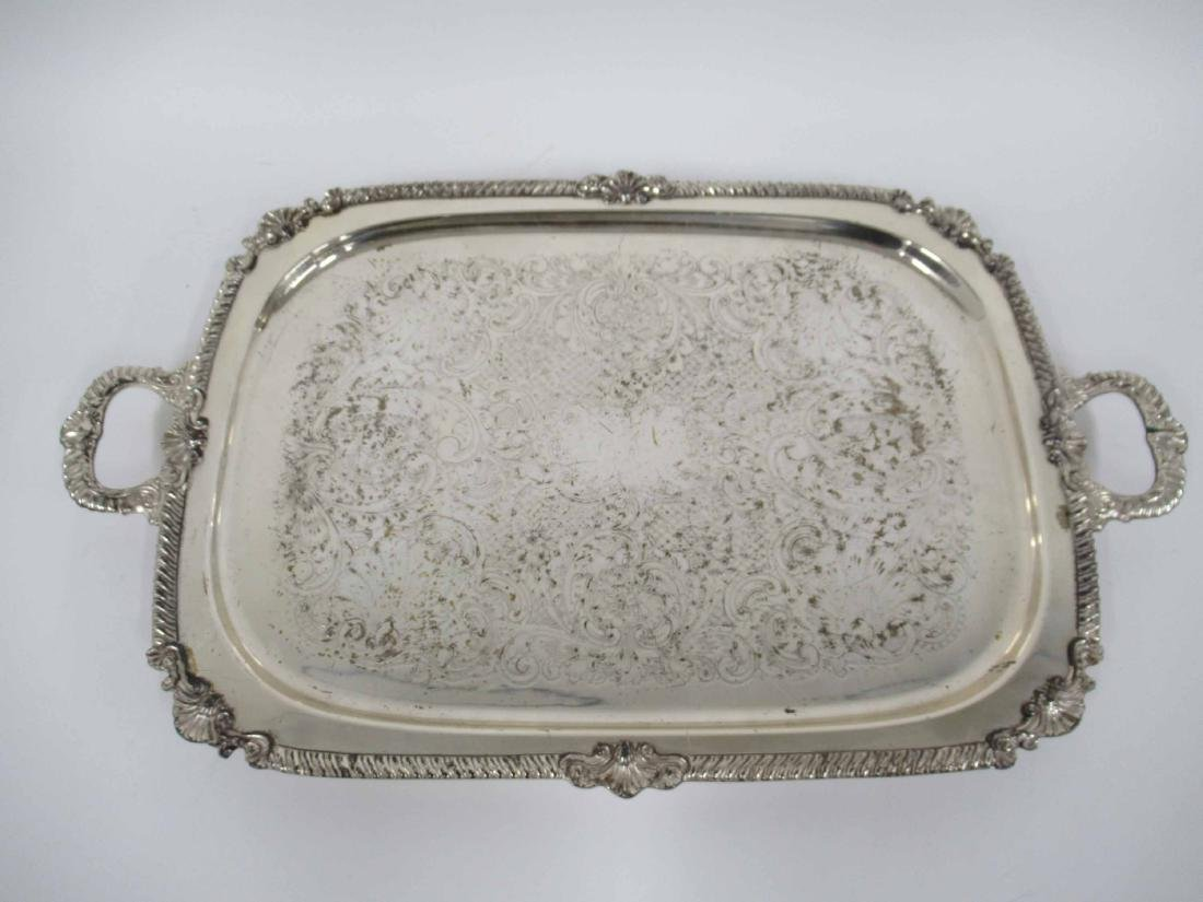 Silver Plate Footed Handled Tray