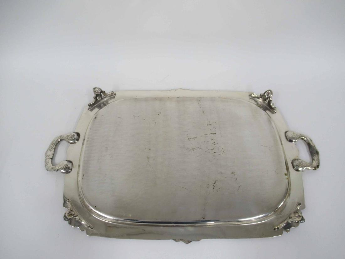 Silver Plate Footed Handled Tray - 5