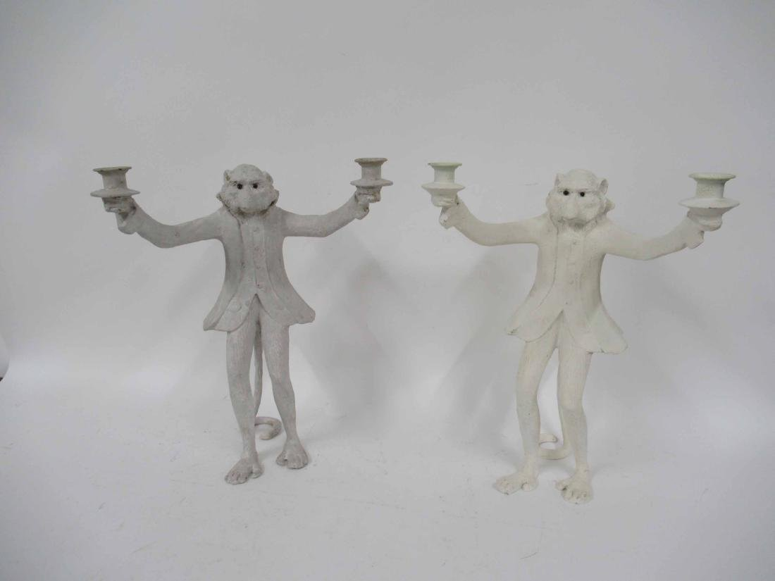 Near Pair Figural Monkey Two Arm Candlesticks
