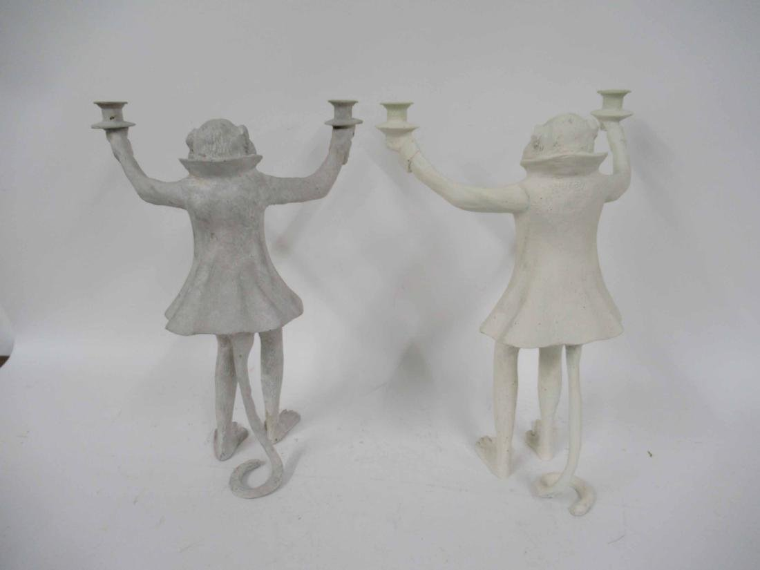 Near Pair Figural Monkey Two Arm Candlesticks - 2