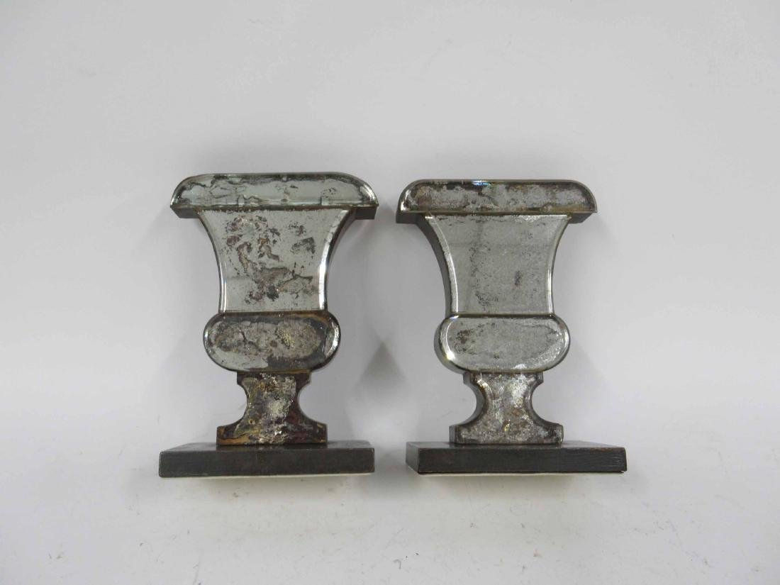 Pair of Mercury Glass Urn Form Bookend Vases