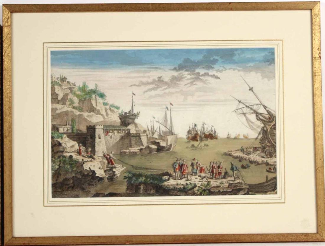 Hand-Colored Engraving, Naval Battle - 2