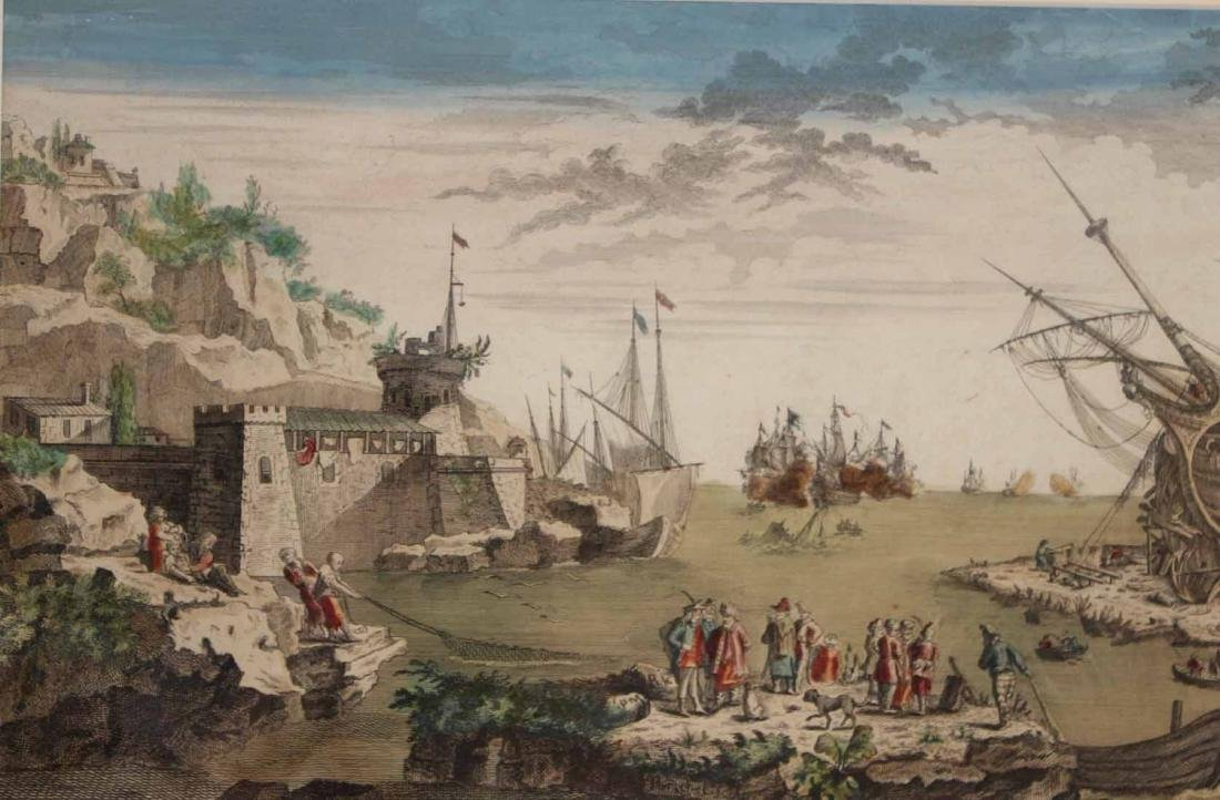 Hand-Colored Engraving, Naval Battle - 3