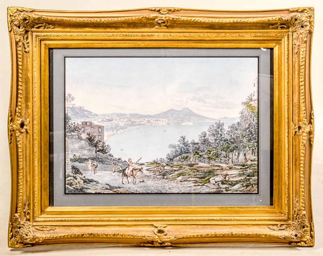 Lithograph, Naples Harbor Scene