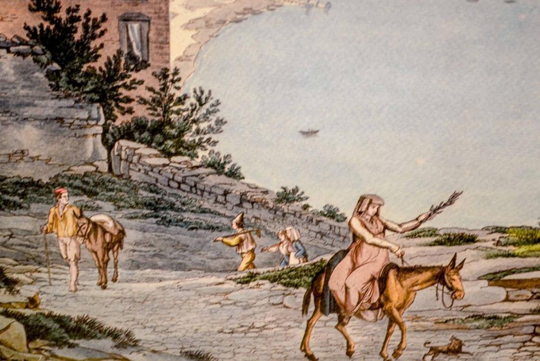 Lithograph, Naples Harbor Scene - 2