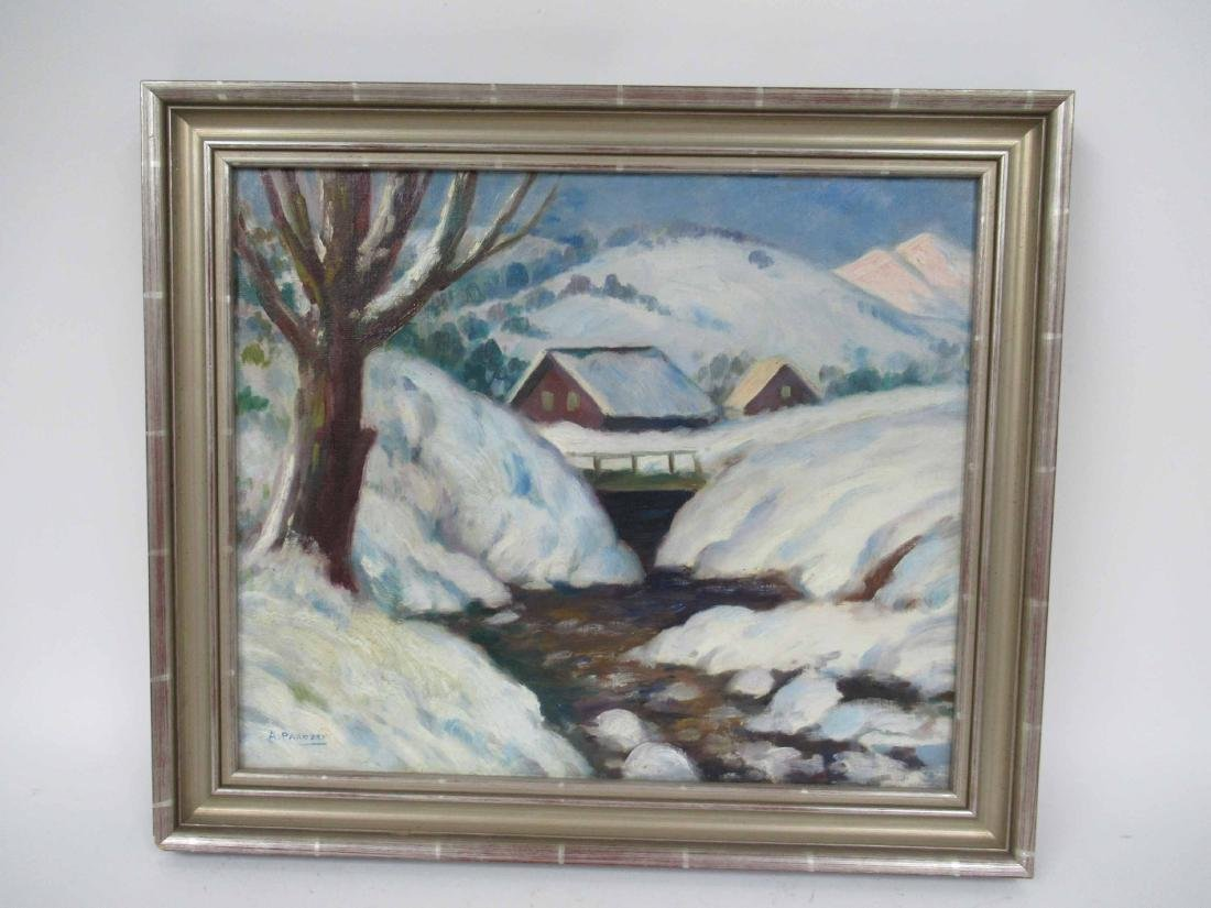 Oil on canvas of Snowy Banks