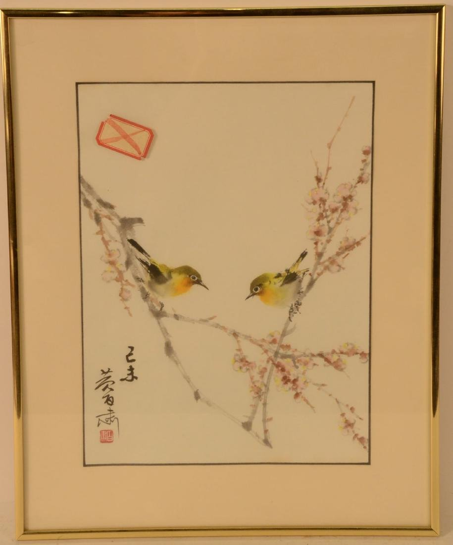 Japanese Print on Paper, Two Songbirds