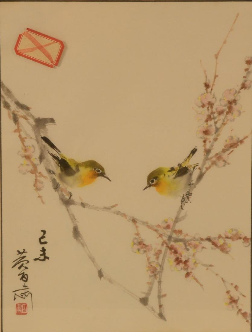 Japanese Print on Paper, Two Songbirds - 3