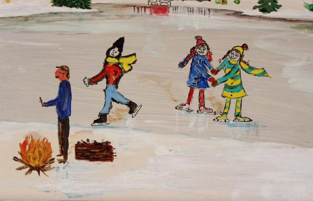 Oil on Board, Folk Art Style Ice Skating Scene - 3